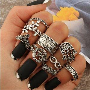 🆕 Antique 9 pc Boho Ring Set